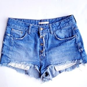 Zara High Rise Cutt-Off Denim Shorts